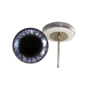 Wide Purple Round Glass Eyes on Wire Pin Posts