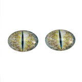 Blue and Yellow Crackle Dragon Oval Glass Eyes