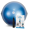 The BOSU Pro Balance Trainer includes a foot pump and instruction manual. The BOSU Pro Balance Trainer can be used either the dome or platform side down.