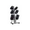The ST 10 Set Studio Barbell Rack is silver and stores discs, bars and collars. The rack can store 10 barbell sets.
