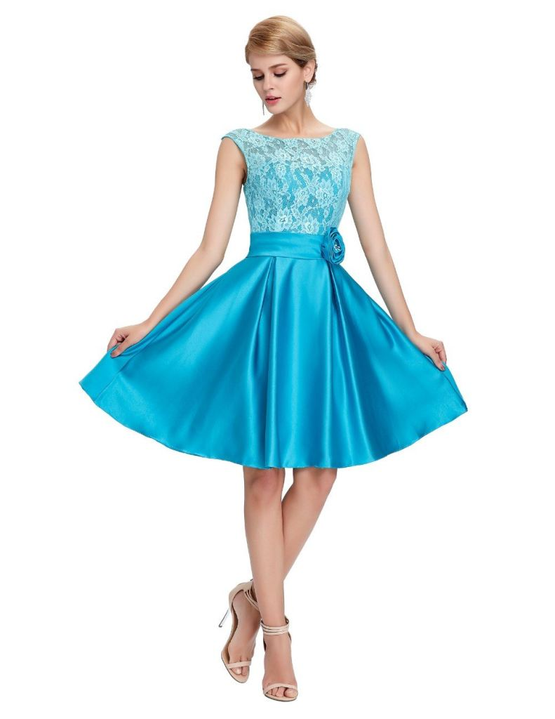 2018 Green Blue Short Knee Length Satin Lace Bridesmaids Dress