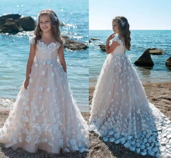 3D Floral Blush Pink Ball Gown Flower Girl Dress