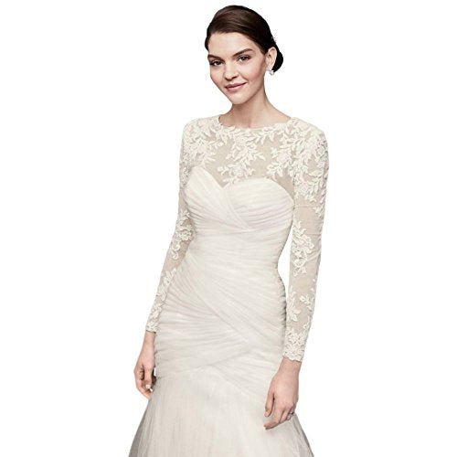 Embroidered Lace Long-Sleeve Dress Topper Style OW2006, Ivory, 16