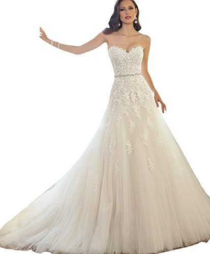 ScelleBridal Sweetheart Strapless A-line Lace Appliques Wedding Dresses for Bride Ivory 22W