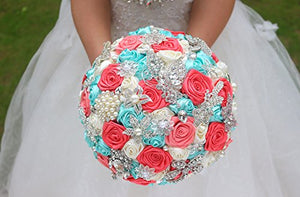 Bridal  Bouquet Bridesmaid mint turquoise & Coral ivory Ribbon roses Customizable bouquets