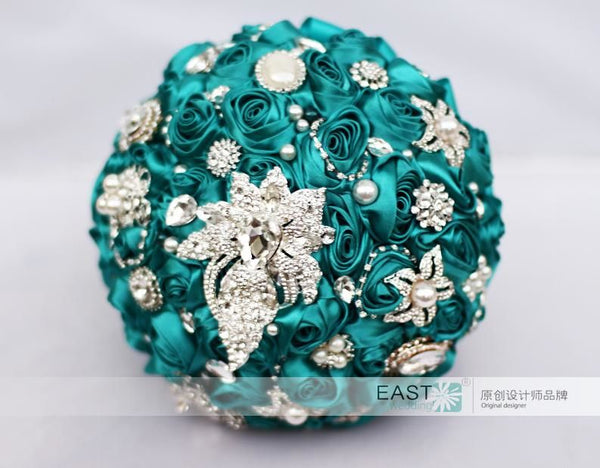 Teal blue rose brooch bouquet wedding decoration items bridesmaid bouq teal blue rose brooch bouquet wedding decoration items bridesmaid bouquets 8 inch wedding bouquets junglespirit Image collections