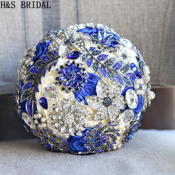 H&S BRIDAL Stunning Bride Brooch Bouquet Royal Blue Leaf Bouquet Cryst