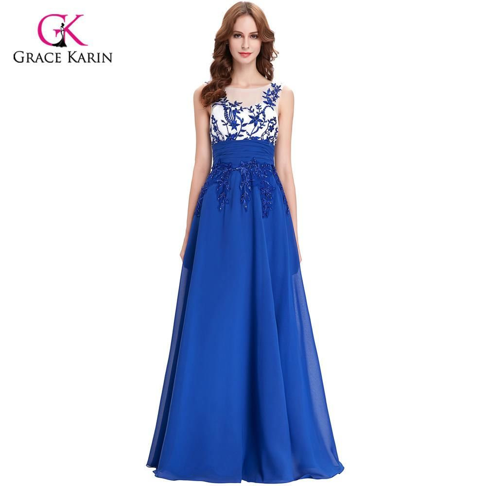 Grace Karin Cap Sleeve Lace Dresses Royal Blue Bridesmaid