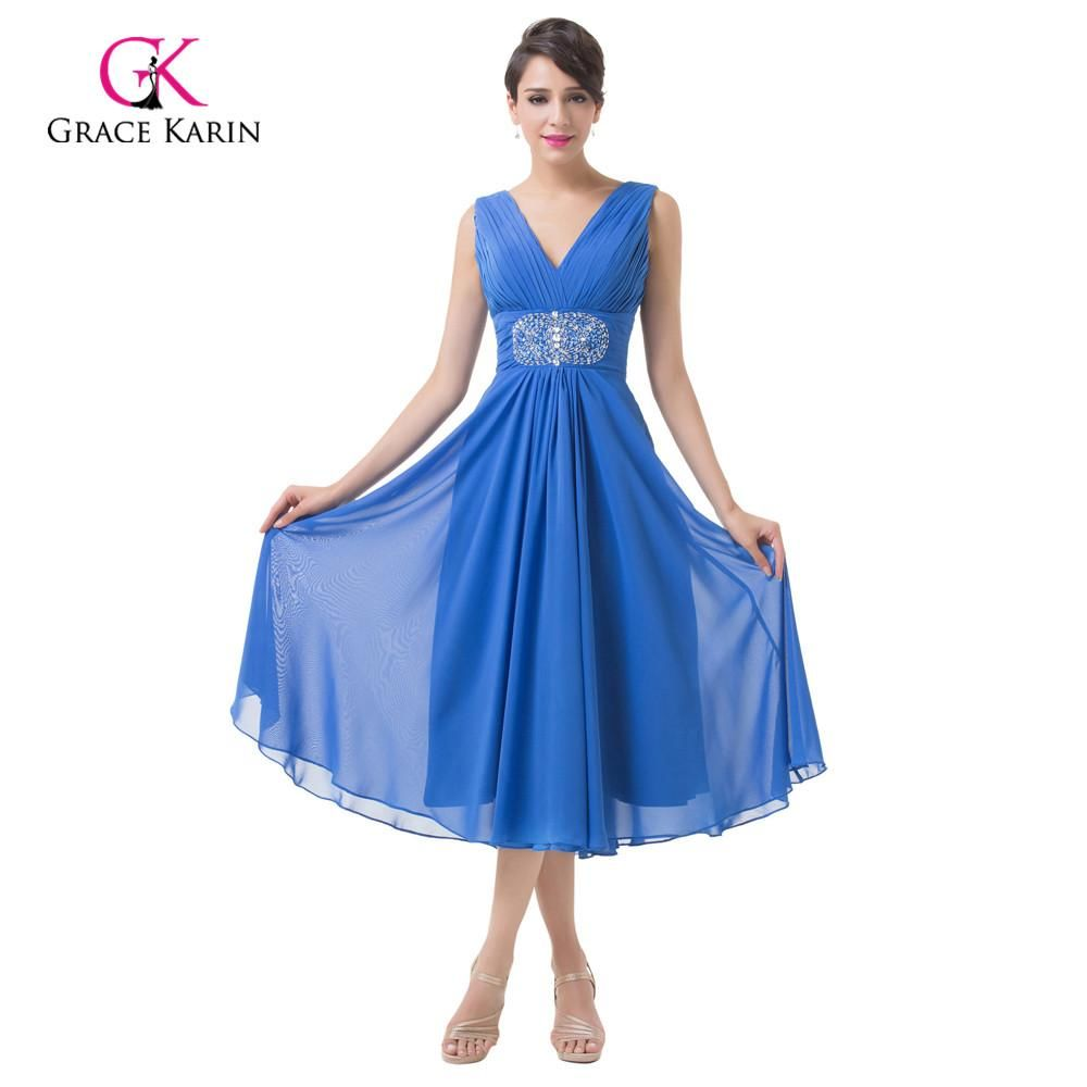 Grace Karin Sleeveless Double V Neck Royal Blue Shortchiffon Formal Gown Mother Of The Bride Dress