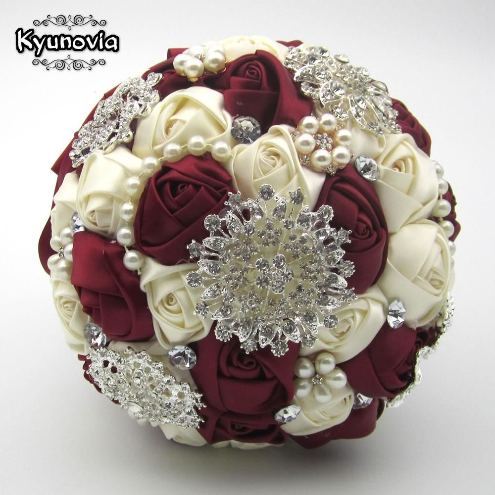 Brooch bouquet with pearl flowers brooch bouquet with pearl flowers ivory and burgundy izmirmasajfo