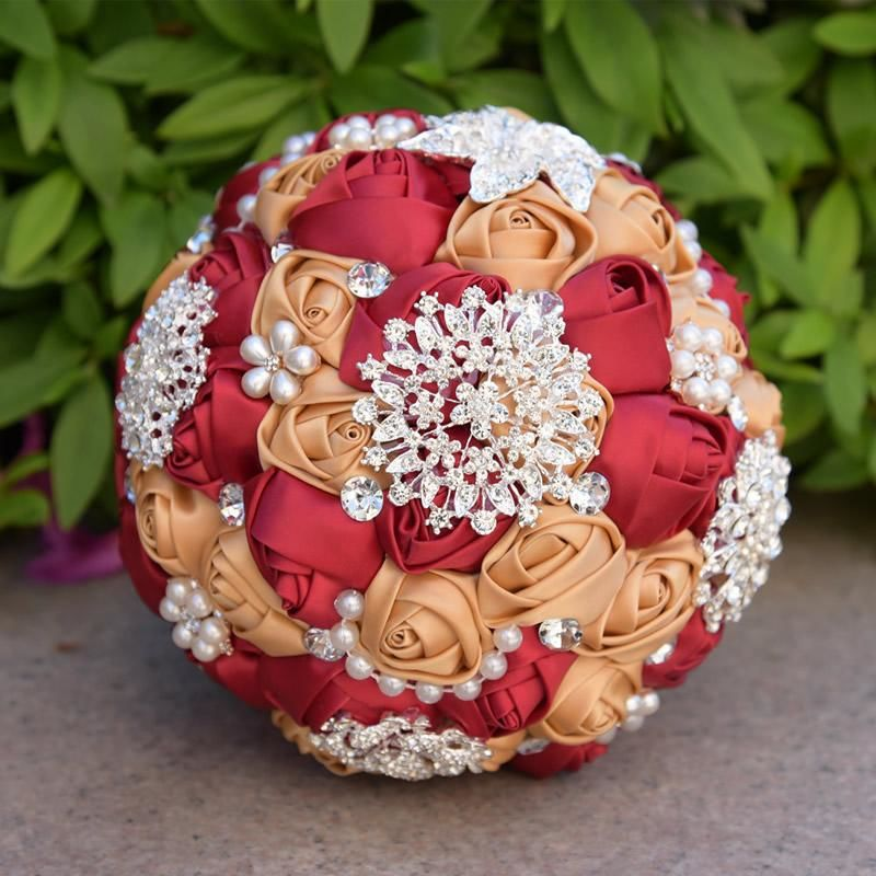 Brooch Bouquet With Pearl Flowers Red And Champagne
