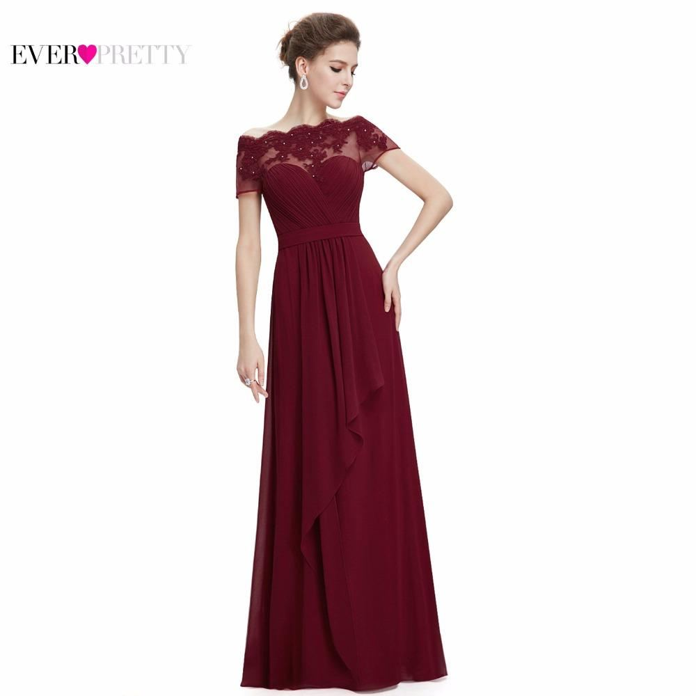 Burgundy Women Boat Neck Royal Blue Lace Red Plus Size Long Chiffon Prom Dresses