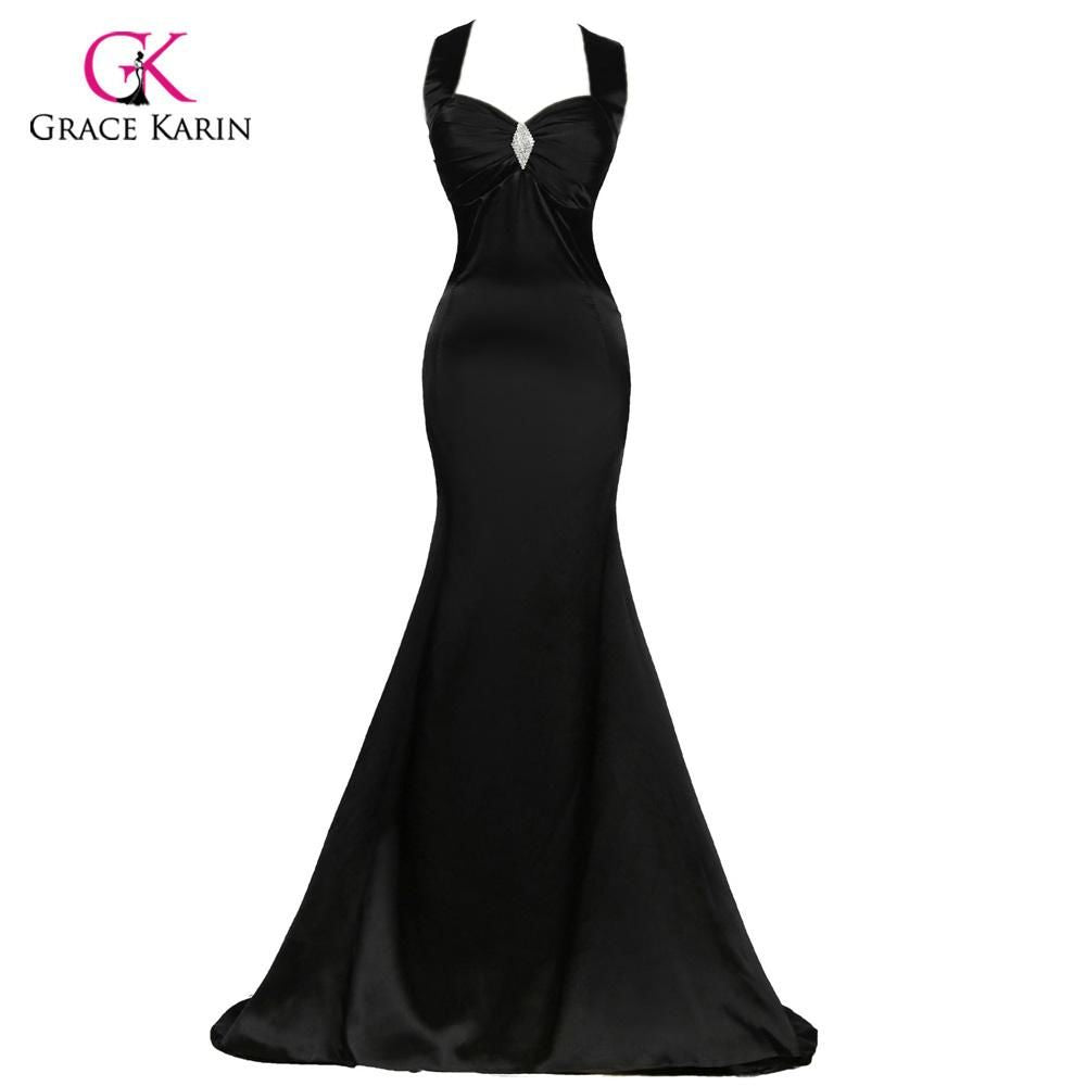 Sexy Grace Karin Lace Up Black Halter Satin Floor Length Long Evening Dresses
