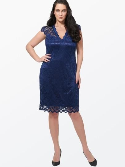 Plain V Neck Lace Plus Size Womens Day Dress Navy / S