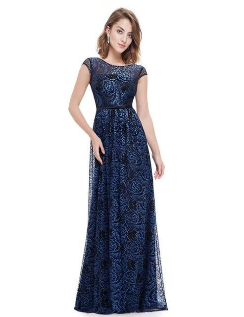Long Sweetheart Lace Bridesmaid Dress Navy Blue / 4