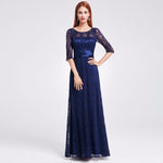 Womens Elegant Long Mother Of The Bride Dresses Ever Pretty Ep08878 Grey Lace Floor-Length Burgundy / 4 China