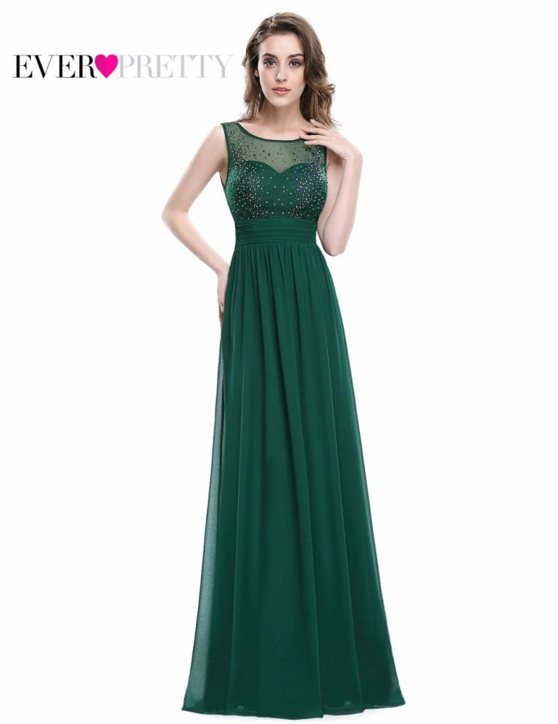 New Arrival Sexy Green Chiffon Evening Dresses Ever Pretty Ep08784Dg Long Dark High Quality Lace