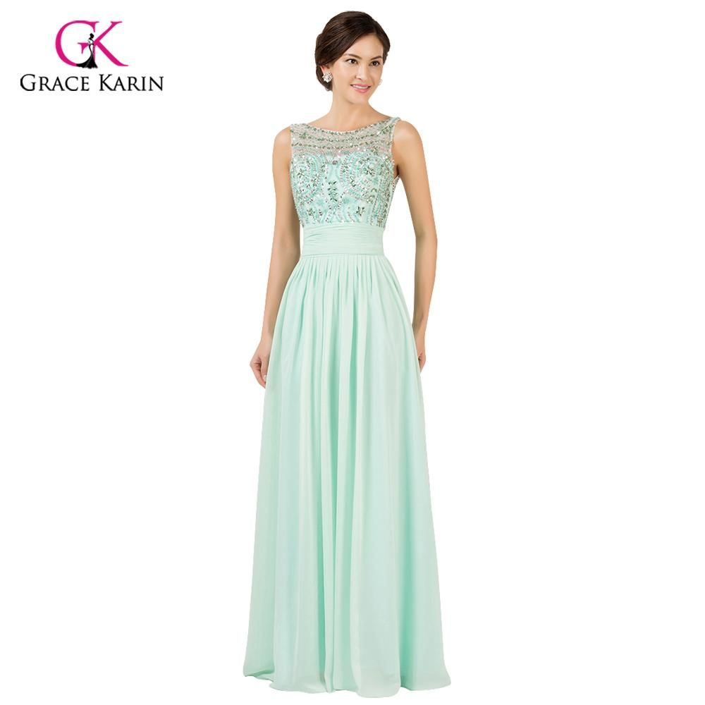 Grace Karin Green Long Crystal Evening Dress