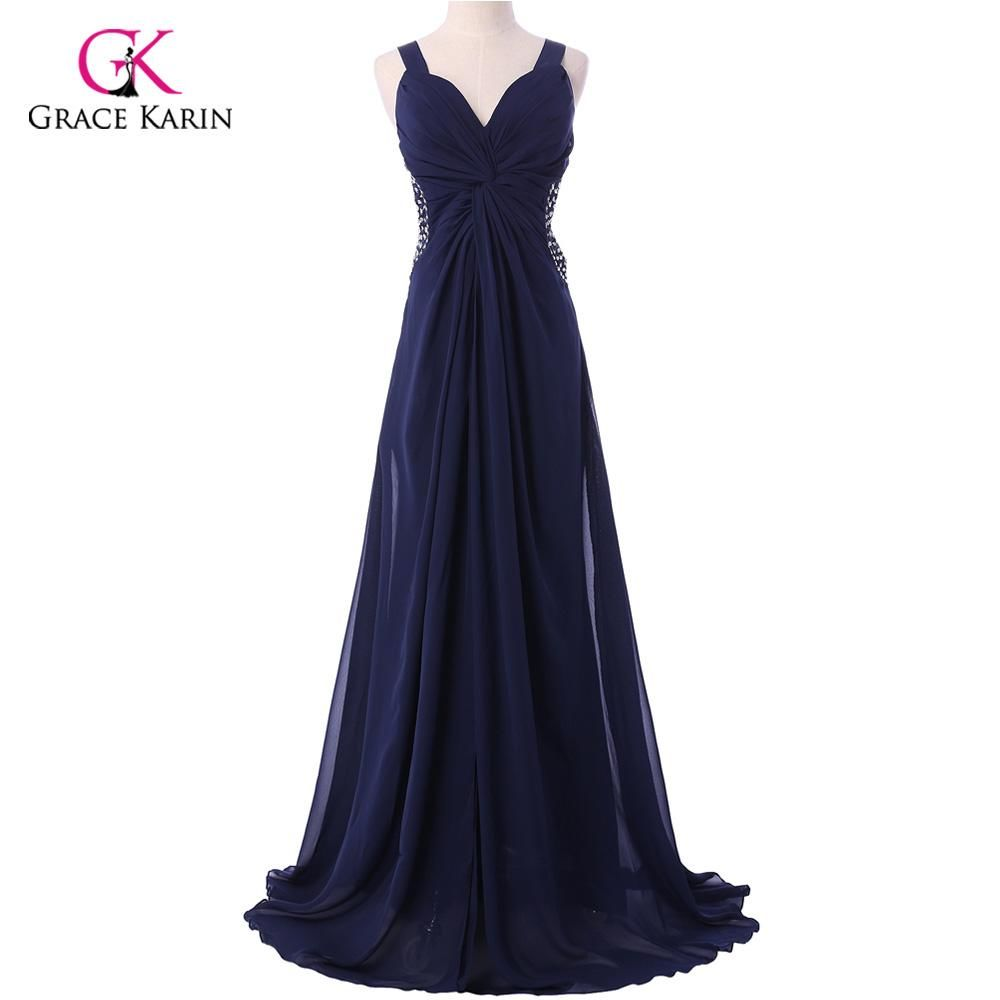 Grace Karin Navy Blue Long Dresses