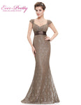 Womens Elegant Peach Collar Long Evening Party Dresses Ever Pretty Ep08798 Empire Mermaid Lace V-Neck
