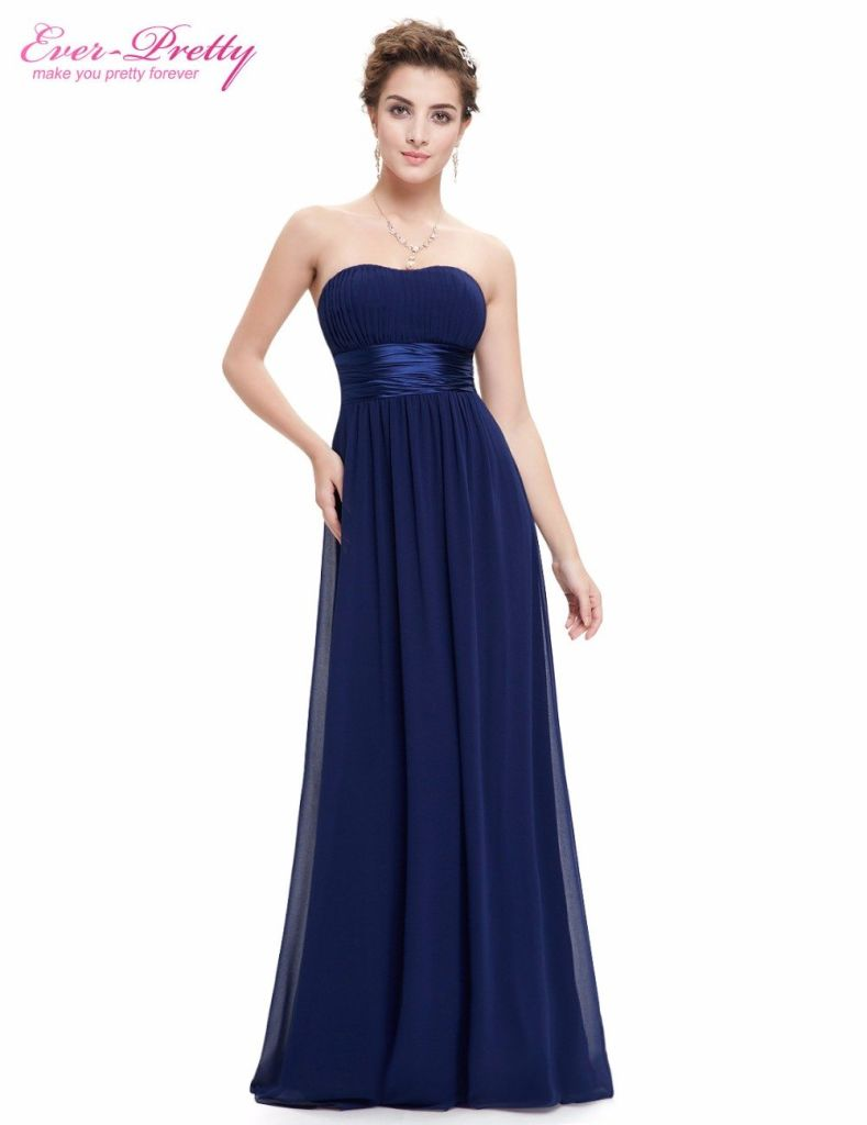 Prom Dresses Ever Pretty Ep09955 Strapless Ruched Bust Blue Red Black Chiffon Long Vestidos Evening Periwinkle / 8 China