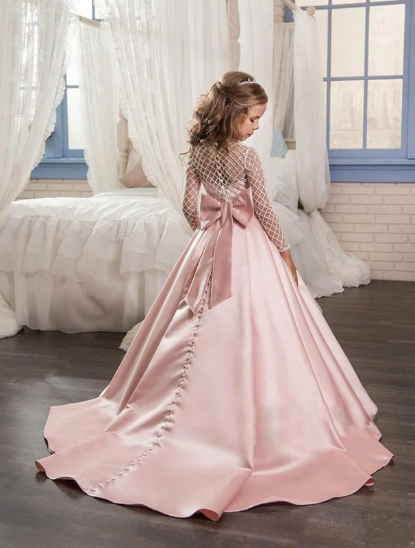Fancy Flower Girl Dress Floor Length Button Draped Pink Long Sleeves T