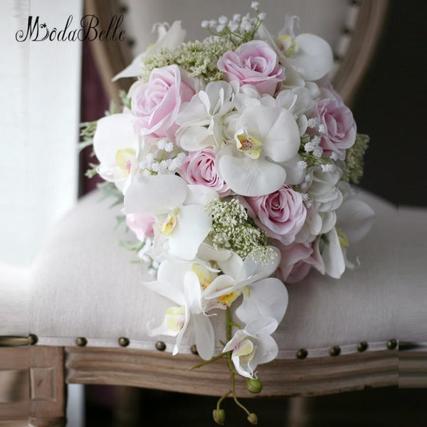 modabelle Ivory Pink Cascading Bridal Bouquets De Mariage Roses Orchid