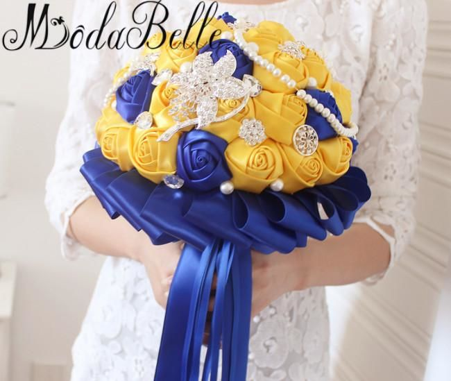 Yellow Royal Blue Wedding Bouquets With Crystal Bridal Bouquets Brides