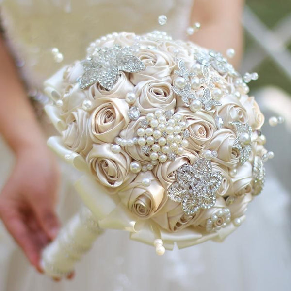 Ivory & champagne satin ribbon rose brooch bouquet