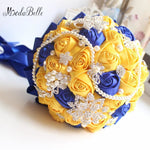Yellow Royal Blue Wedding Bouquets With Crystal Bridal Bridesmaid