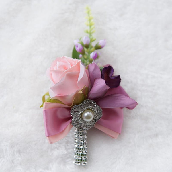Kyunovia Wedding Prom Boutonniere Flower Brooch Groom Bridesmaid Groom