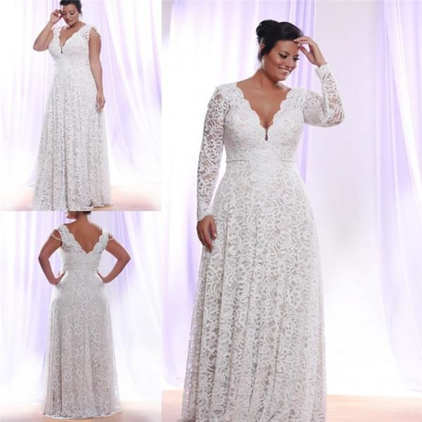 Full Lace Plus Size Wedding Dresses With Removable Long Sleeves V Neck