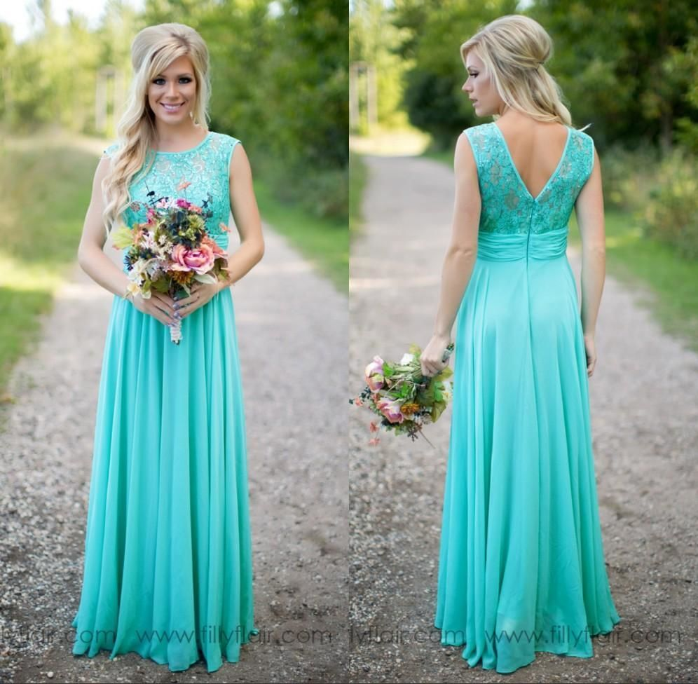 Sheer Jewel Neck Lace Top Chiffon Long Turquoise Bridesmaids Dress Same As Image / 14W