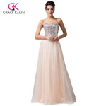 Grace Karin Sequins & Tulle Long Sweetheart Champange Sequin Formal Dress2W
