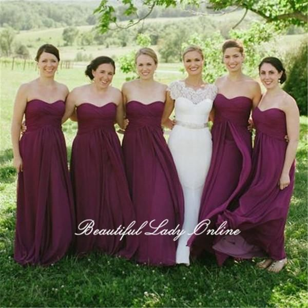 Purple Pleat Chiffon Bridesmaid Gowns 2018 Strapless Off The Shoulder Floor Length Long Formal Dresses Plus Size Women Dress Same As Image /