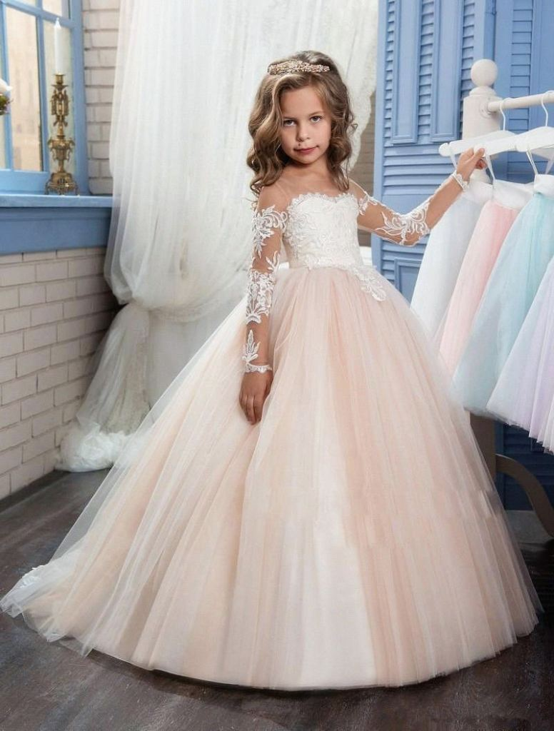 Champagne Long Sleeves Ball Gown-Flower Girl Dress