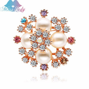 d3294ec4519 Miss Lady Rose Gold Color Simulated Pearl Rhinestone Flower Wedding Brooches  For Women Brooch Bouquet Pins