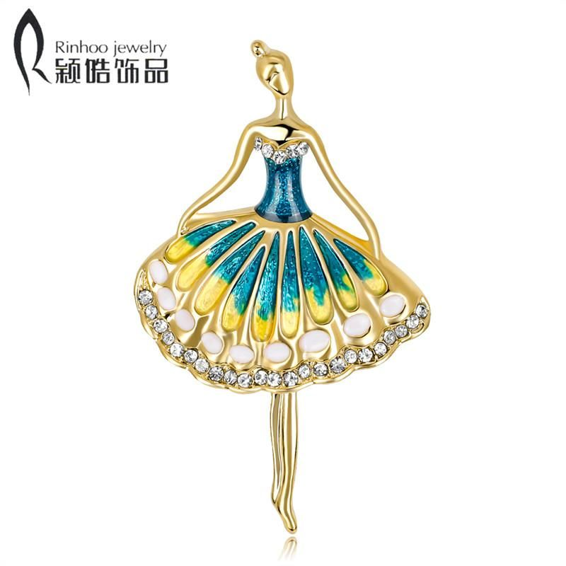 Lovely Crystal Ballet Dance Girl Brooches Pins Blue Yellow Enamel Mary Kay  Brooch For Women Dress 7338198e373c