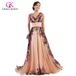 Grace Karin Flower Print Long  Chiffon Padded Gown - Bridal by Valerie