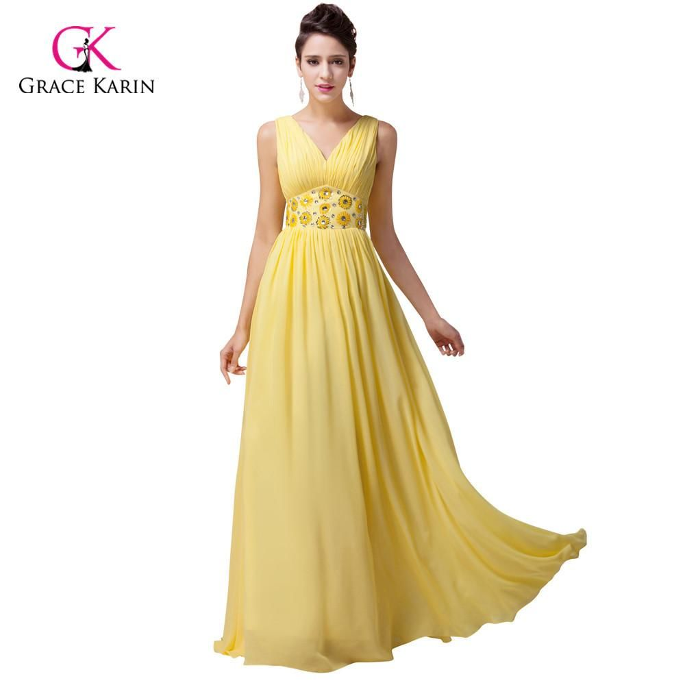 Grace Karin Plus Size V-Neck Beadings Long Yellow Chiffon Evening Gown