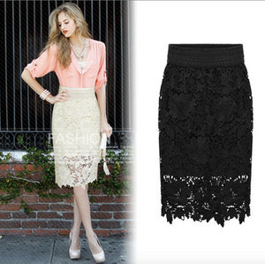 Knee Length Elegant Lace Pencil Skirt
