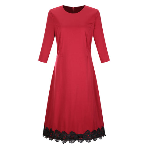 Oversized Midi Party Dress with Three-Quarter Sleeves