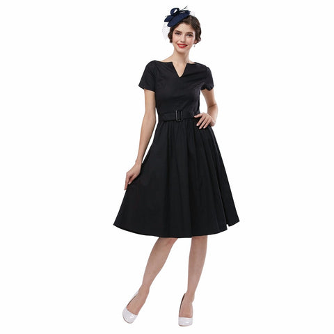 Black Vintage Style Dress with V-neck Collar