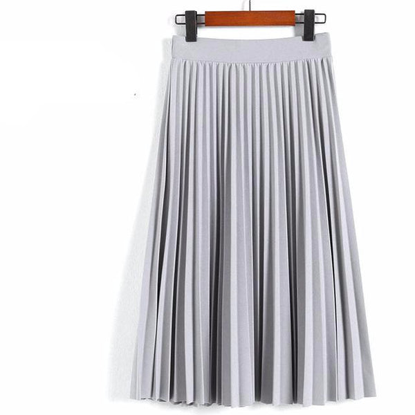 Pleated Solid Color Calf-Length Skirt