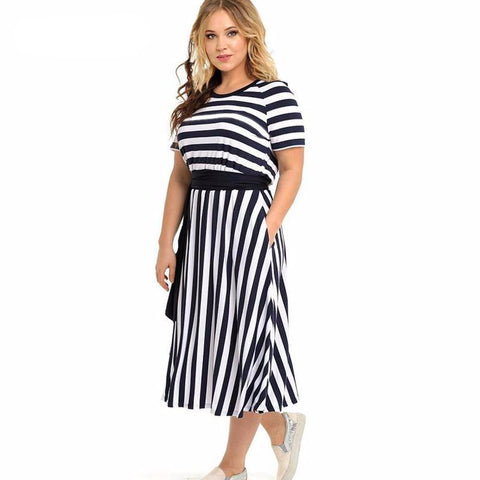 Striped Midi Summer Dress with Short Sleeves