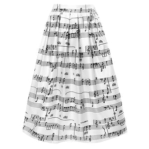 High Waist Print Music Notes Pleated Skater Skirt