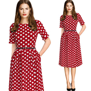 Vintage Style Printed Skater Dress (Red White Dot)