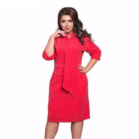 3/4 Sleeves Dress with Standing Collar and Back Slit