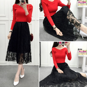 Long Lace Pleated Skirt