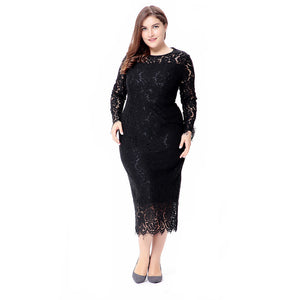 Long Sleeves O-Neck Lace Dress